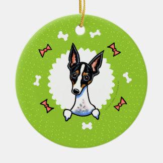 Rat Terrier Bones Christmas Wreath Ceramic Ornament