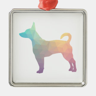 Rat Terrier Colorful Geometric Pattern Silhouette Silver-Colored Square Decoration