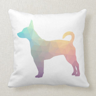 Rat Terrier Colorful Geometric Pattern Silhouette Throw Pillow