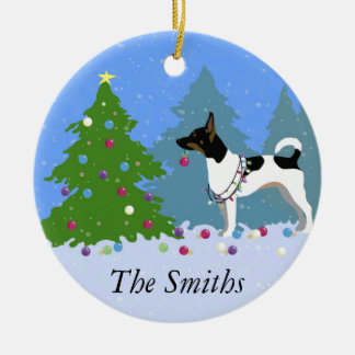 Rat Terrier Decorating a Christmas Tree in Forest Ceramic Ornament