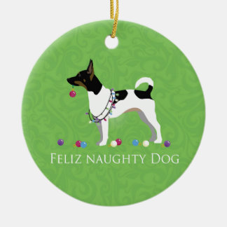 Rat Terrier Feliz Naughty Dog Christmas Ceramic Ornament
