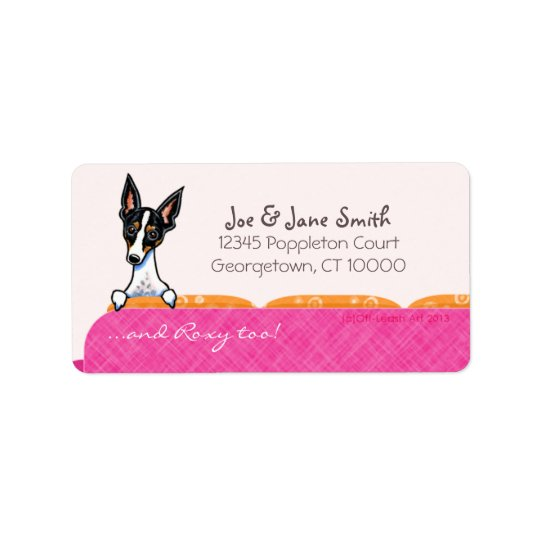 Rat Terrier Pink Couch Custom Pet Name Address Label