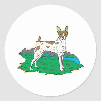 Rat Terrier,Png Classic Round Sticker