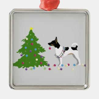 Rat Terrier Silhouette Christmas Design Metal Ornament
