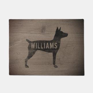 Rat Terrier Silhouette Personalized Doormat