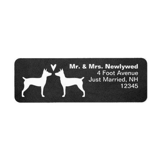 Rat Terrier Silhouettes Love Return Address Return Address Label