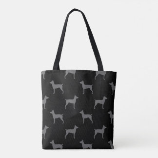 Rat Terrier Silhouettes Pattern Grey and Black Tote Bag