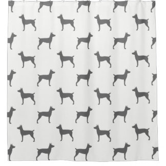 Rat Terrier Silhouettes Pattern Shower Curtain