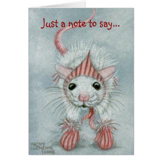 Rat wearing Babushka & Mittens, Note Card