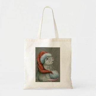 Rat wearing Santa Hat Christmas tote bag