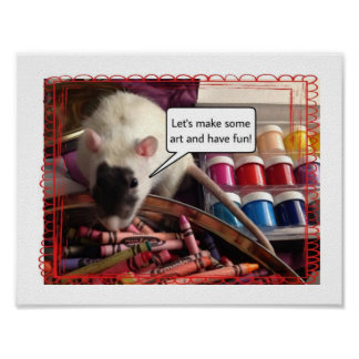 Rat with crayons photo poster