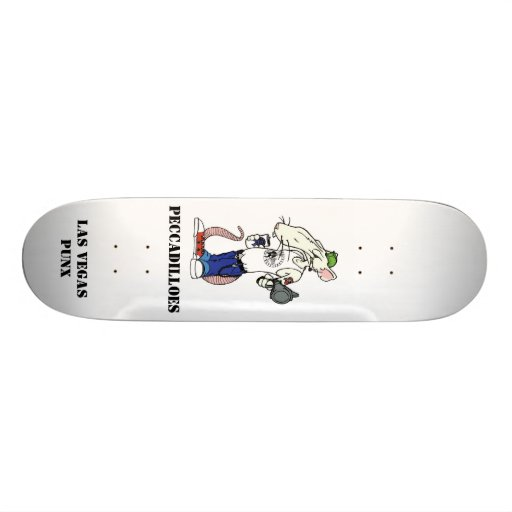 rat with white back, PECCADILLOES, LAS VEGAS PUNX Skate Deck