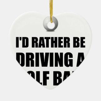 Rather Be Driving Golf Balls Ceramic Heart Decoration