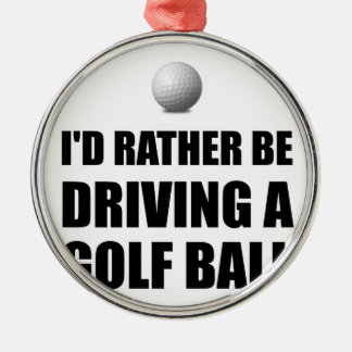 Rather Be Driving Golf Balls Silver-Colored Round Decoration