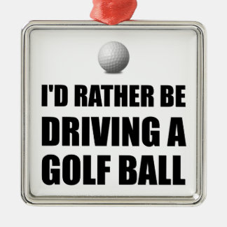 Rather Be Driving Golf Balls Silver-Colored Square Decoration