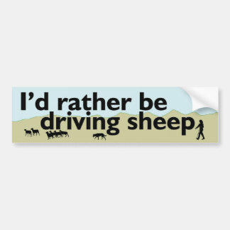 Rather Be Driving Sheep Bumper Sticker