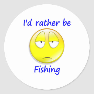 Rather Be Fishing Round Sticker