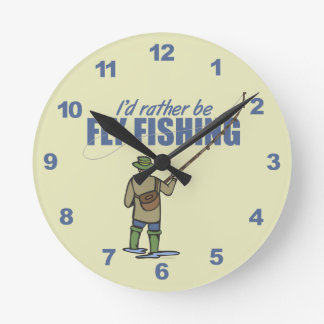 Rather Be Fly Fishing Round Clock