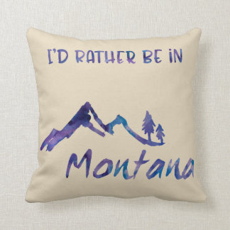Rather Be In Montana Blue Mountain Tree Pillow