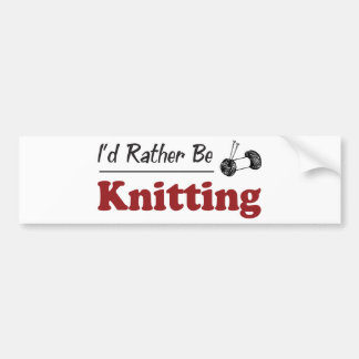 Rather Be Knitting Bumper Sticker