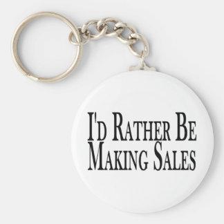 Rather Be Making Sales Basic Round Button Key Ring