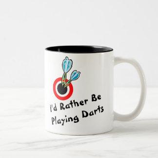 Rather Be Playing Darts Two-Tone Coffee Mug