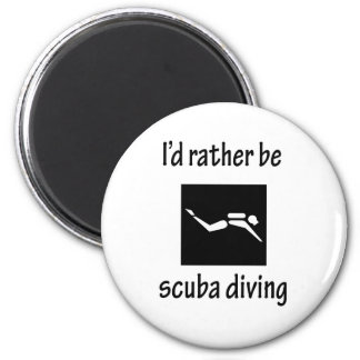 Rather Be Scuba Diving 6 Cm Round Magnet