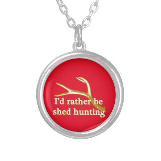Rather be shed hunting silver plated necklace
