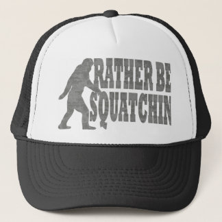 Rather be squatchin, black camouflage trucker hat