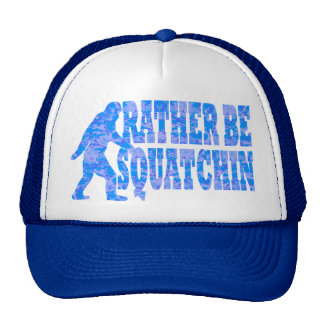 Rather be squatchin on blue camouflage cap
