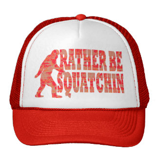 Rather be squatchin red camouflage mesh hat