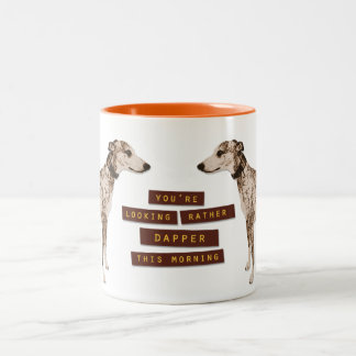 Rather Dapper Whippet Two-Tone Coffee Mug