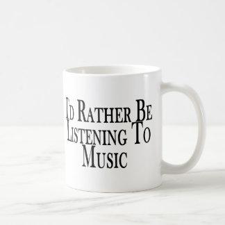 Rather Listen To Music Basic White Mug