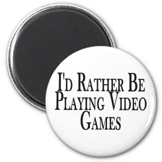 Rather Play Video Games 6 Cm Round Magnet