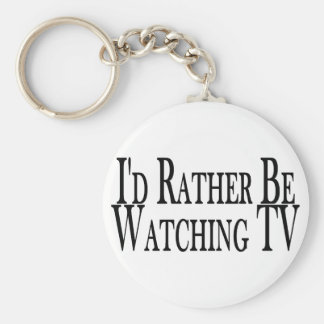 Rather Watch TV Basic Round Button Key Ring