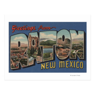 Raton, New Mexico - Large Letter Scenes Postcard