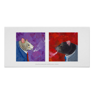 Rats in business suits smoking cigarettes fun art poster