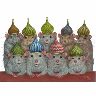 Rats in St Basil's onion dome hats sculpture Standing Photo Sculpture