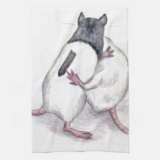 rats playing kitchen towel