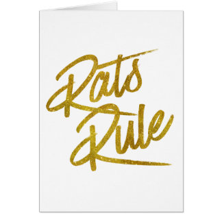 Rats Rule Gold Faux Foil Metallic Glitter Quote Card