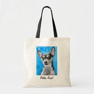 Ratties Rock! Rat Terrier, Modern Dog Art, Bag