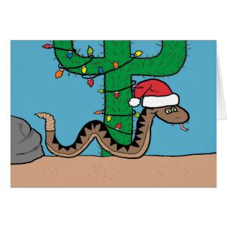 Rattle Snake Cactus Christmas Tree Greeting Card
