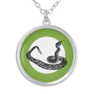 Rattle snake silver plated necklace