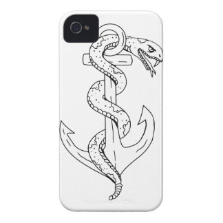 Rattlesnake Coiling on Anchor Drawing iPhone 4 Cases