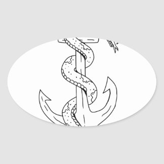 Rattlesnake Coiling on Anchor Drawing Oval Sticker