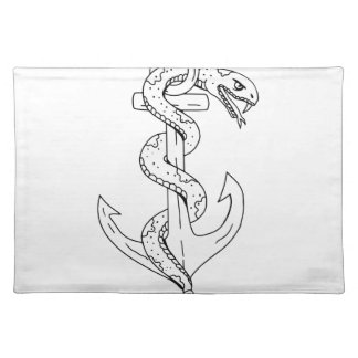Rattlesnake Coiling on Anchor Drawing Placemat