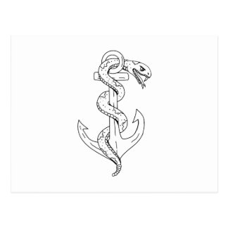 Rattlesnake Coiling on Anchor Drawing Postcard