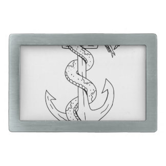 Rattlesnake Coiling on Anchor Drawing Rectangular Belt Buckle