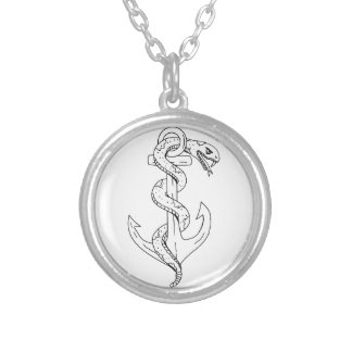 Rattlesnake Coiling on Anchor Drawing Silver Plated Necklace