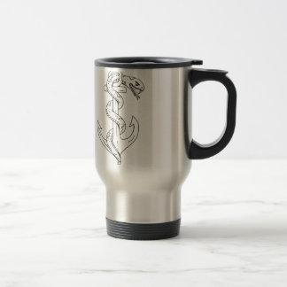 Rattlesnake Coiling on Anchor Drawing Travel Mug